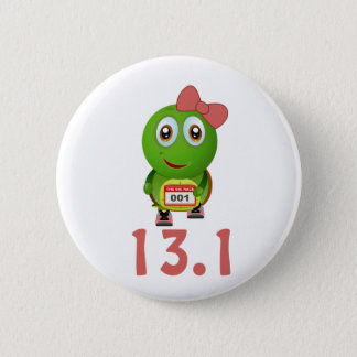 Girl Turtle Runner 13.1 Pinback Button