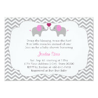 Girl Twins Baby Shower Card