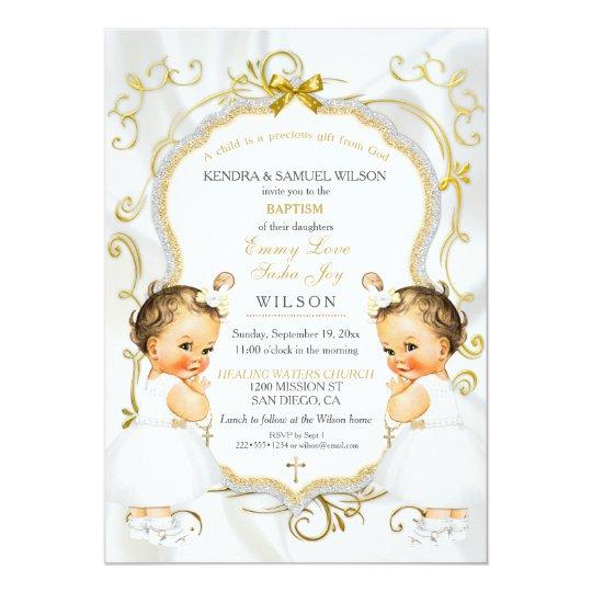 Girl Twins Baptism Christening Gold White Cross Card Zazzle Com