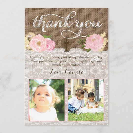 Girl Twins Baptism Or Christening Thank You Note Zazzle Com