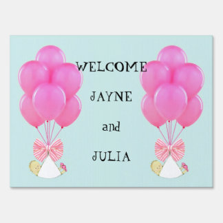 Girl Twins Birth Announcement Yard Sign