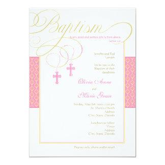"Girl Twins Damask Baptism Invitation 5"" X 7"" Invitation Card"