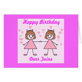 Girl twins, Happy Birthday Card
