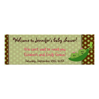 Girl Twins Pea in a Pod Baby Shower Banner Poster