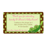 Girl Twins Peas in a Pod Baby Shower Favor Label Personalized Shipping Label