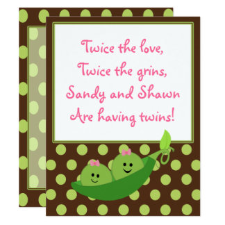 Girl Twins Peas in a Pod Baby Shower Invitation