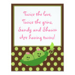 "Girl Twins Peas in a Pod Baby Shower Invitation 4.25"" X 5.5"" Invitation Card"