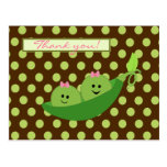 Girl Twins Peas in a Pod Baby Shower Thank You Postcard