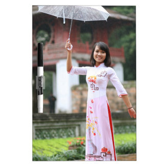 Girl Umbrella Asian Rain Woman Dry Erase Board