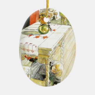 Girl Under a Kitchen Table Ceramic Ornament