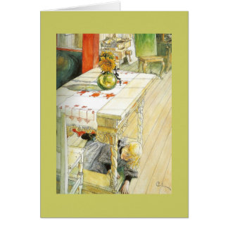 Girl Under a Kitchen Table Greeting Card