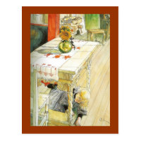 Girl Under a Kitchen Table Postcard
