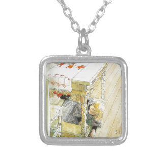 Girl Under a Kitchen Table Silver Plated Necklace