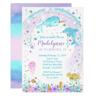 Girl Under the Sea Invitation
