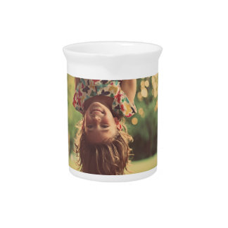 Girl Upside Down Smiling Child Kids Play Beverage Pitchers