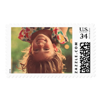 Girl Upside Down Smiling Child Kids Play Postage Stamp