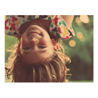 Girl Upside Down Smiling Child Kids Play Postcard