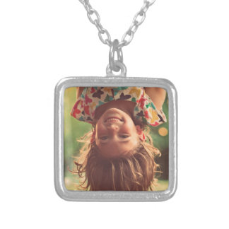 Girl Upside Down Smiling Child Kids Play Square Pendant Necklace