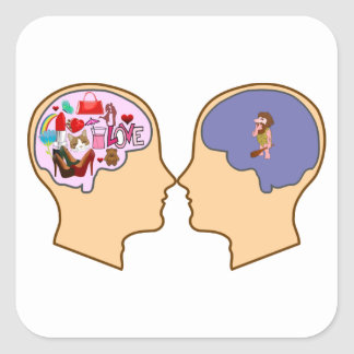 Girl V Guy funny design - Customisable Square Sticker
