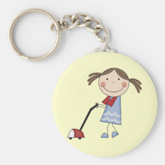 Girl Vacuuming Tshirts and Gifts Keychain
