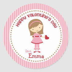 Girl Valentine Stickers (pink) - Children Kids at Zazzle