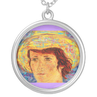 girl & van gogh hat round pendant necklace