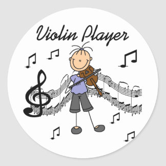 Girl Violin Player Tshirts and Gifts Classic Round Sticker