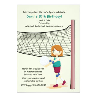 """Girl Volleyball Player Birthday Party Invitations 5"""" X 7"""" Invitation Card"""