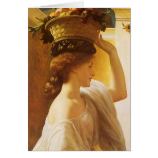 Girl w Basket of Fruit, Leighton Vintage Victorian Cards