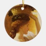 Girl w Basket of Fruit, Leighton Vintage Victorian Christmas Ornament