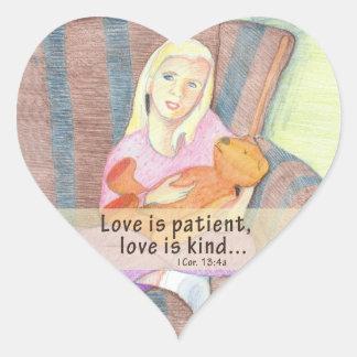 Girl w Teddy Bear Heart Stickers – Love Is Patient