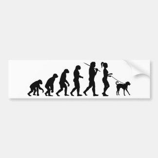 Girl Walking A Dog Bumper Sticker