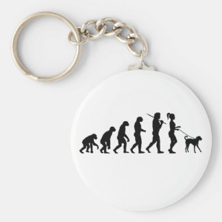 Girl Walking A Dog Keychain