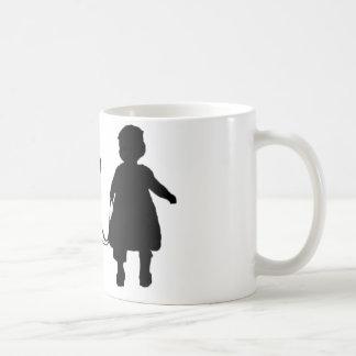 Girl Walking Dog Coffee Mugs