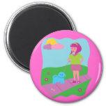 Girl Walking Dog Fridge Magnet