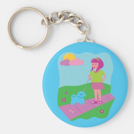 Girl Walking Dog Key Chains