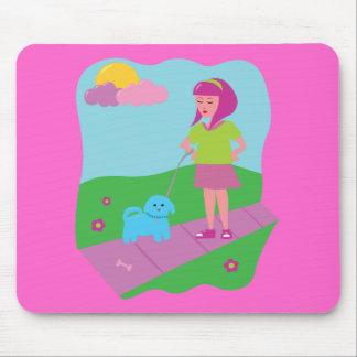 Girl Walking Dog Mouse Pad