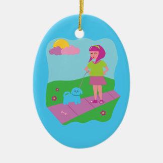 Girl Walking Dog Ornaments