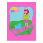 Girl Walking Dog Postcard