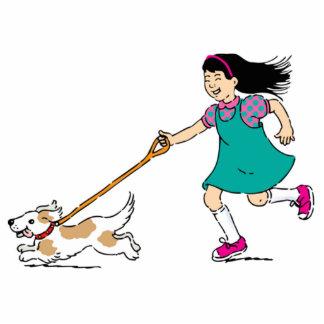 Girl Walking Dog Statuette
