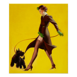 Girl Walking Her Scotty By Gil Elvgren Print