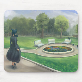 Girl Walking in Green Park After Rain Mouse Pad