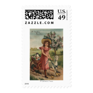 Girl Walking Lamb, Chick, and Rooster Postage