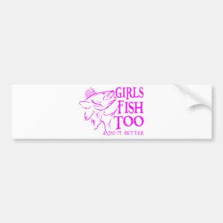GIRL WALLEYE FISHING BUMPER STICKER
