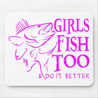 GIRL WALLEYE FISHING MOUSE PAD
