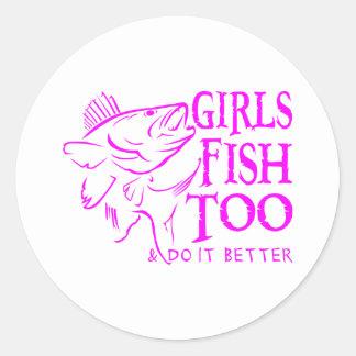 GIRL WALLEYE FISHING ROUND STICKERS