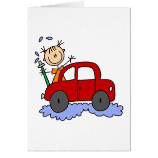 Girl Washing Car Card