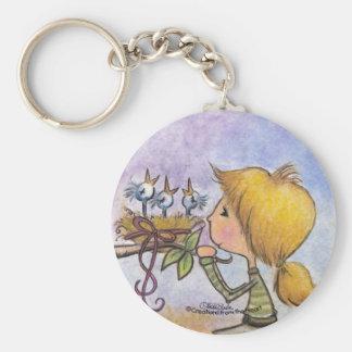 Girl Watches Birds-Precious Package Keychain