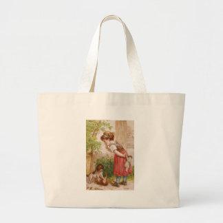 Girl Watches Dog Cat Antics Bag