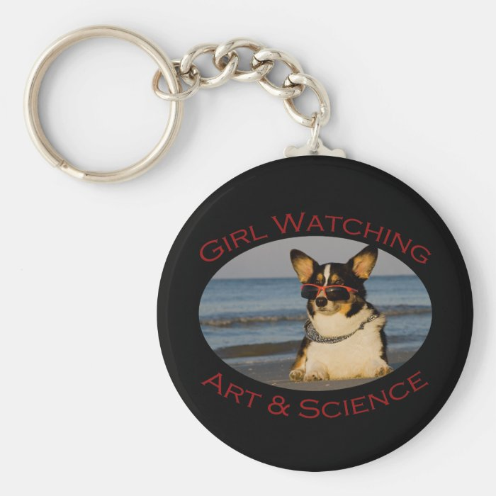 Girl Watching, Art & Science Keychain